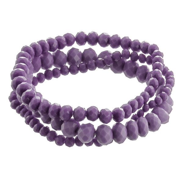 "Stretch bracelet set with faceted beads.Approximate 6"" in length."