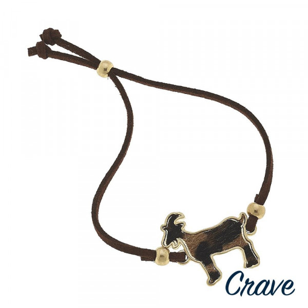 """Leather bracelet with goat details. Approximate 6"""" in long."""