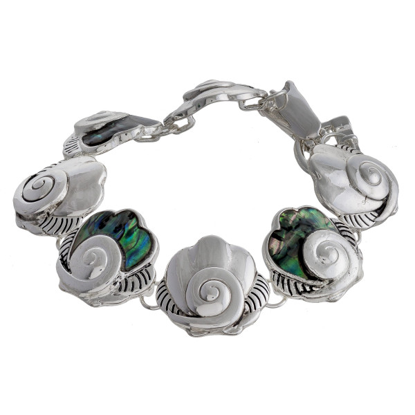 """Metal bracelet with clamshell details. Approximate 7"""" in length."""