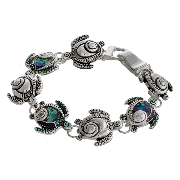 """Metal bracelet with turtle details. Approximate 7"""" in length."""
