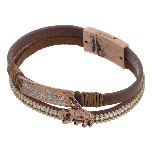 """Mama bear bracelet with magnetic closure. Approximate 7 1/2"""" in length."""