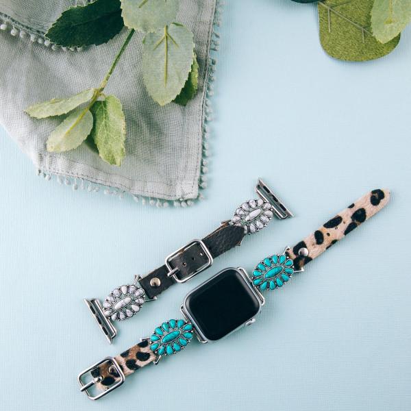 """Leopard print leather smart watch band featuring a turquoise tortoise howlite inspired flower stone. Fits 38/40 mm watch face. Approximate 6"""" in length. WATCH NOT INCLUDED."""