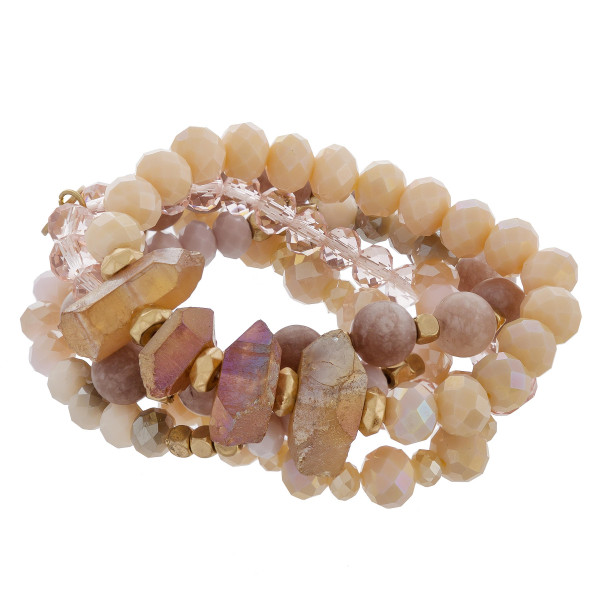 "Natural stone and bead stretch bracelet. Approximate 6"" in length."