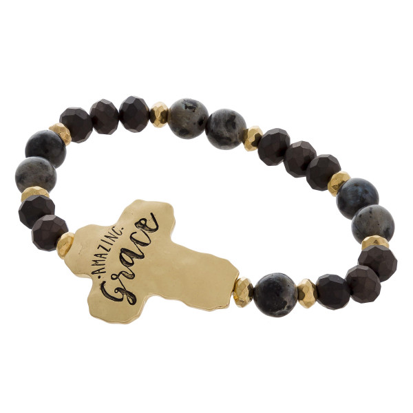 """Beaded stretch bracelet with engraved message, """"Amazing Grace."""" Approximate 6"""" in length."""