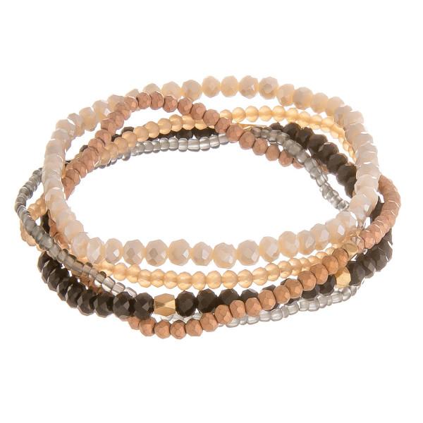 "Multi strand beaded stretch bracelet. Approximate 8"" in length."