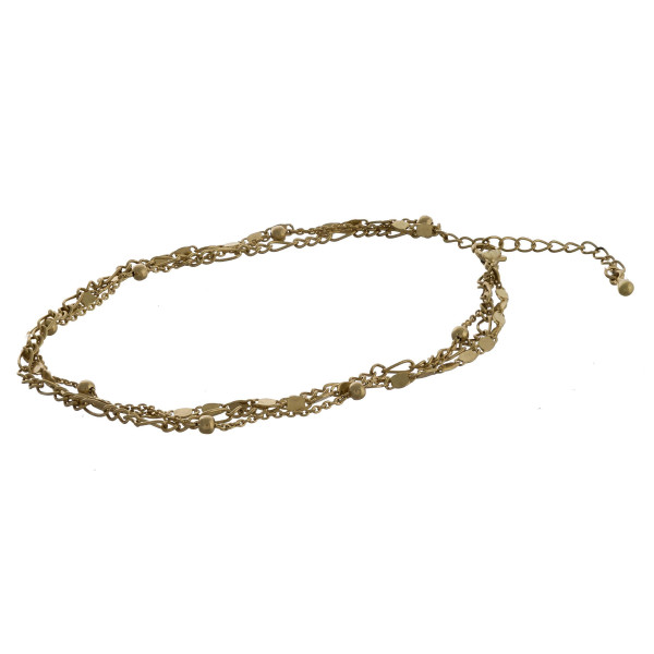 "Layered metal anklet. Approximate 10"" in length."