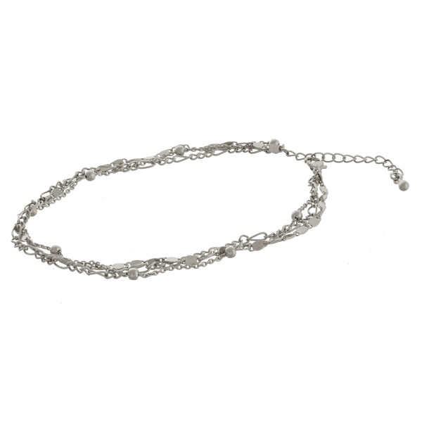 """Layered metal anklet. Approximate 10"""" in length."""