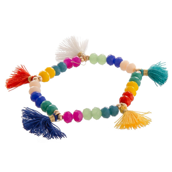 "Multicolored beaded stretch bracelet featuring fanned tassel details. Approximately 2"" in diameter unstretched."