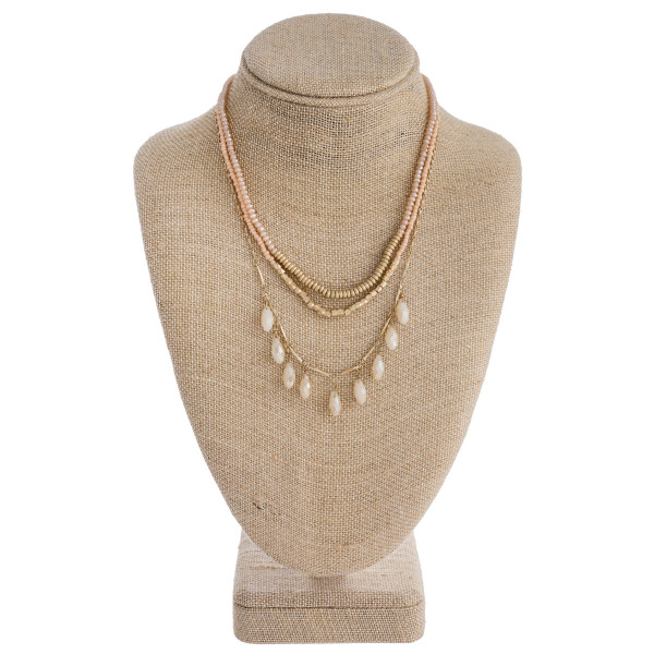 "Trio layered necklace featuring beaded details and gold accents. Approximately 16"" in length."
