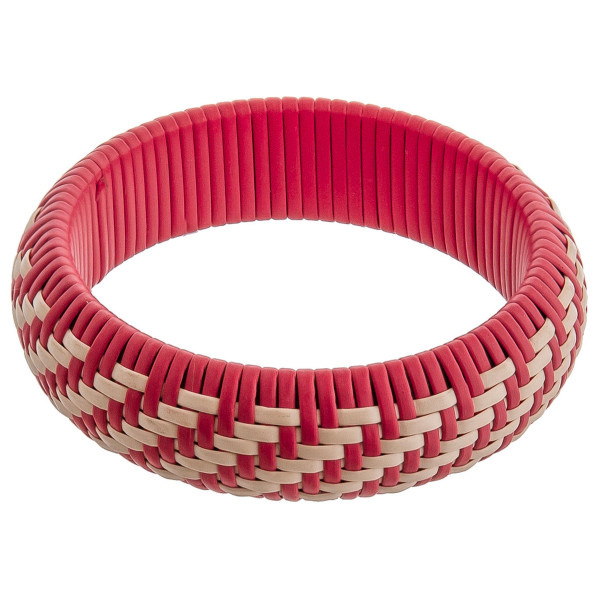 "Rattan woven bangle bracelet. Approximately 3"" in diameter. Fits up to a 6"" wrist."