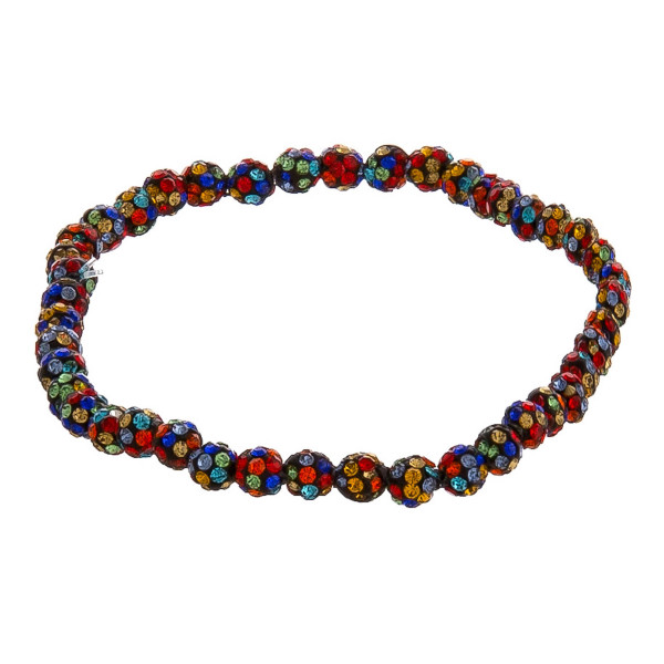 "Dainty beaded stretch bracelet featuring rhinestone details. Approximately 3"" in diameter unstretched. Fits up to a 6"" wrist."