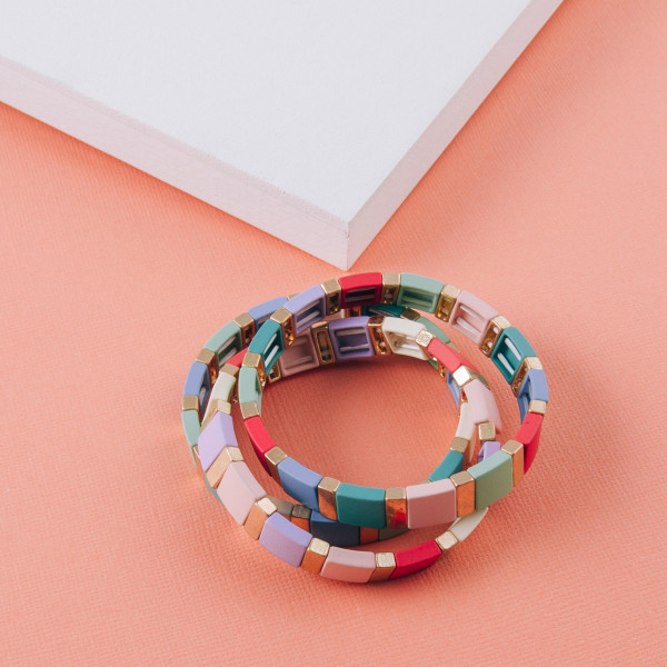 """Resin inspired stretch bracelet with gold accents. Approximately 3"""" in diameter unstetched. Fits up to a 6"""" wrist."""