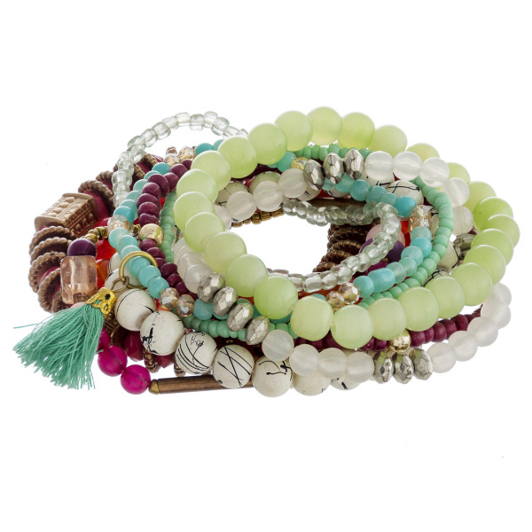 Bracelet set featuring eight beaded bracelets with