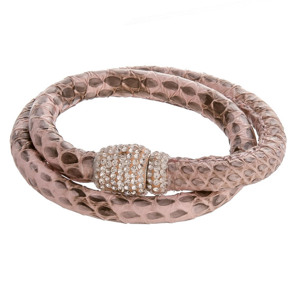 """Faux leather wrap bracelet featuring snakeskin print and a rhinestone detailed magnetic closure. This style can also be worn as a choker. Approximately 12"""" in length unclasped. Fits up to a 6"""" wrist."""