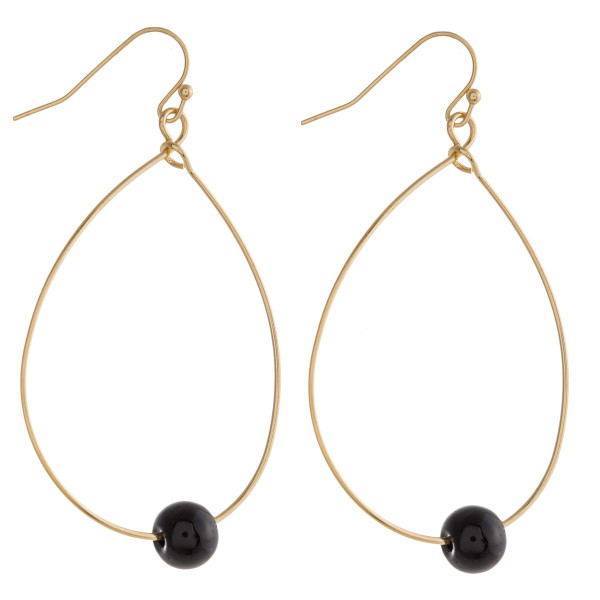 """Dainty metal teardrop earrings featuring a natural stone inspired bead accent. Approximately 2"""" in length."""