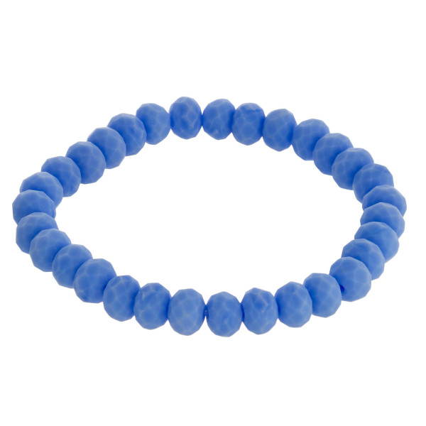 """Faceted beaded stretch bracelet. Approximately 3"""" in diameter unstretched. Fits up to a 6"""" wrist."""
