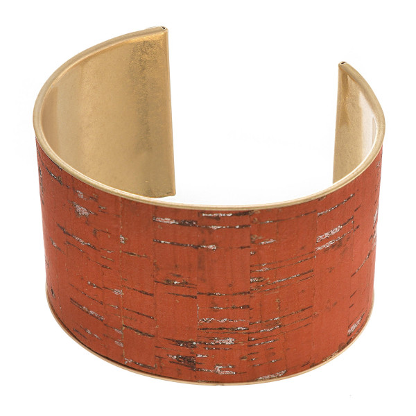 "Metal cork inspired cuff bracelet. Approximately 1.5"" wide. Approximately 3"" in diameter, fits up to a 6"" wrist."