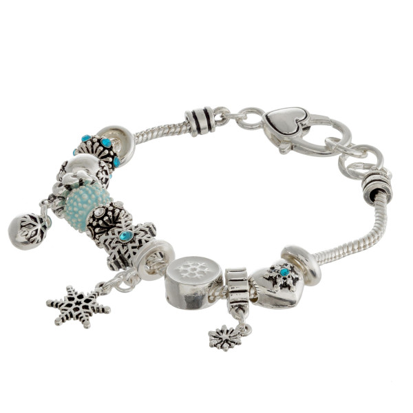 "Christmas charm bracelet with lobster clasp. Approximately 3"" in diameter. Fits up to a 6"" wrist."