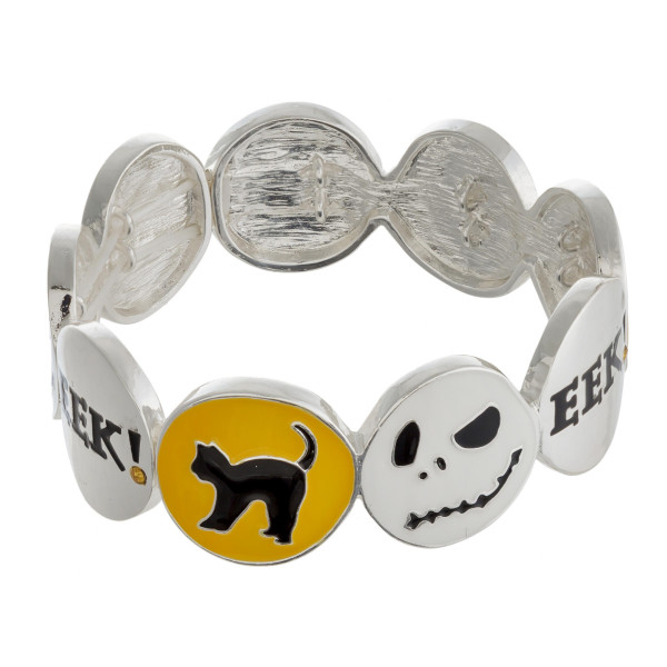 """Halloween metal stretch bracelet with """"The Nightmare Before Christmas"""" enamel illustration details. Approximately 3"""" in diameter unstretched. Fits up to a 6"""" wrist."""