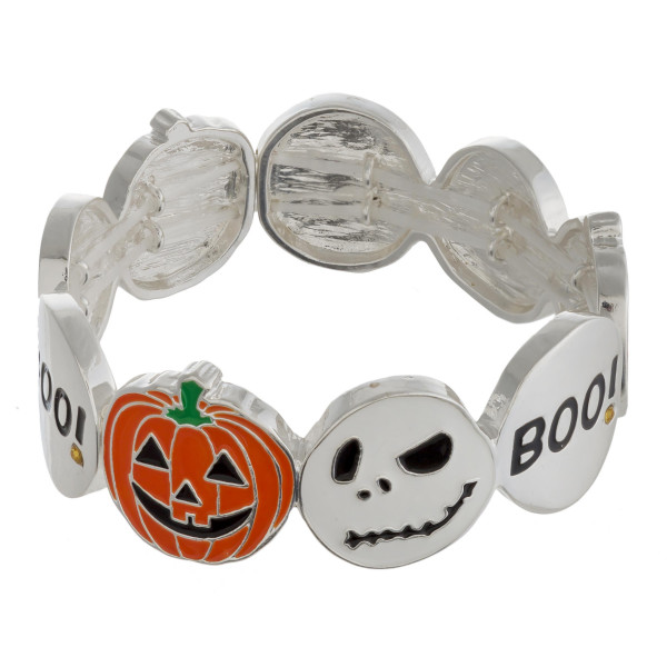 "Halloween metal stretch bracelet with enamel illustration details. Approximately 3"" in diameter unstretched. Fits up to a 6"" wrist."