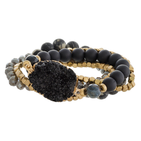 "Semi precious beaded stretch bracelet set featuring a druzy focal with faceted and gold bead details. Approximately 3"" in diameter unstretched. Fits up to a 6"" wrist."