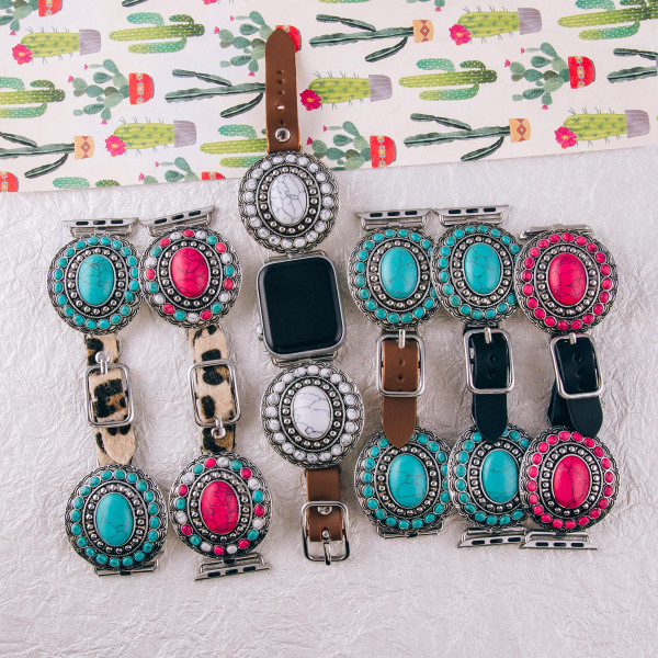 "Interchangeable fur faux leather smart leopard print watch band for smart watches featuring western inspired natural stone details. WATCH NOT INCLUDED. Approximately 9.75"" in length,  - 38mm - Adjustable closure"