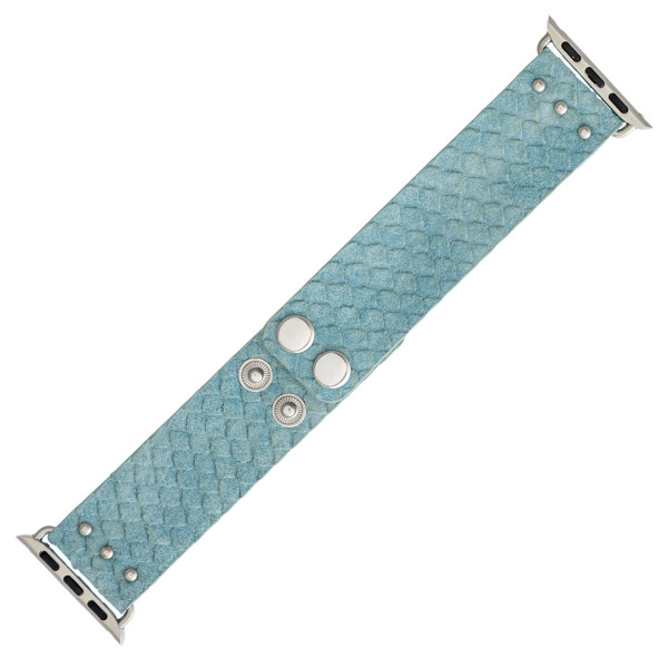 "Interchangeable faux leather band for smart watches featuring mermaid scale inspired details. WATCH NOT INCLUDED. Approximately 8.5"" in length.  - 38mm - Adjustable closure"