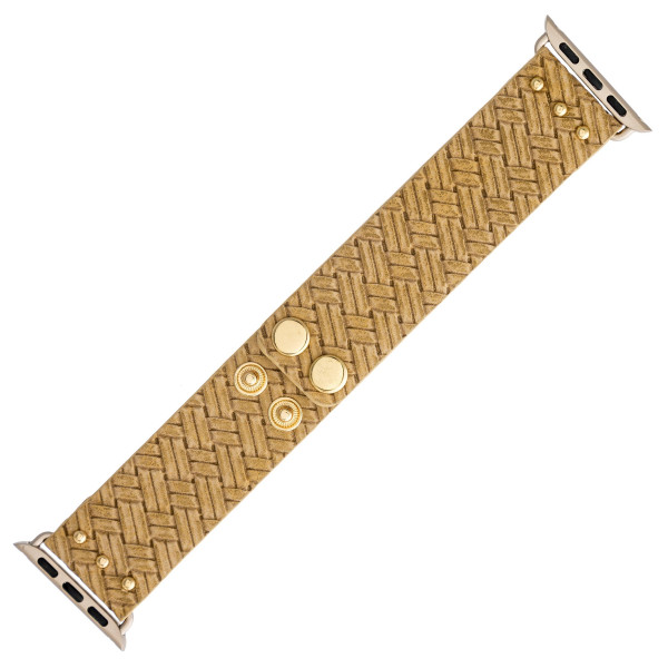 "Interchangeable rattan woven faux leather inspired watch band for smart watches. WATCH NOT INCLUDED. Approximately 8.5"" in length.  - 38mm - Adjustable closure"