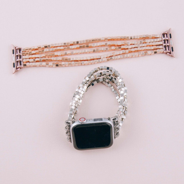 "Interchangeable multi strand block beaded stretch smart watch band/bracelet. WATCH NOT INCLUDED. Approximately 4.5"" in diameter. Fits up to a 7"" wrist.   - 38mm"