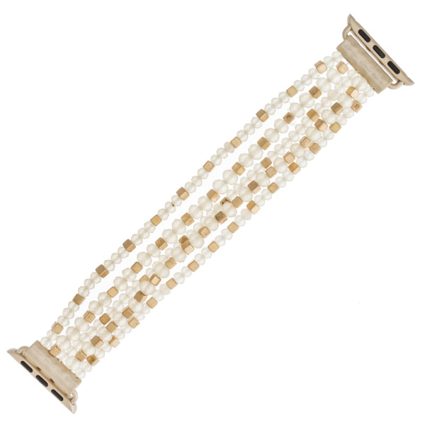 "Interchangeable multi-strand beaded stretch smart watch band/bracelet featuring matte faceted and gold block bead details. WATCH NOT INCLUDED. Approximately 4.5"" in diameter. Fits up to a 7"" wrist.  - 38mm"