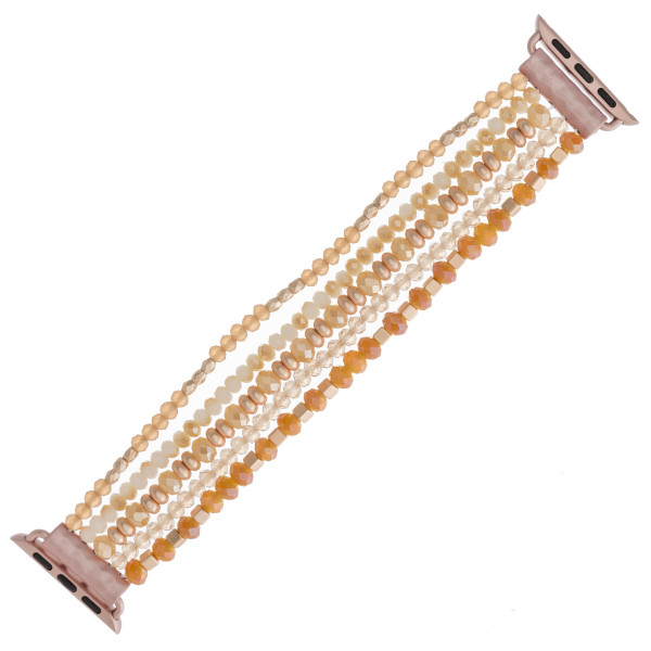 "Interchangeable multi-strand beaded stretch smart watch band/bracelet featuring iridescent, matte faceted and block bead details. WATCH NOT INCLUDED. Approximately 4.5"" in diameter. Fits up to a 7"" wrist.   - 38mm"