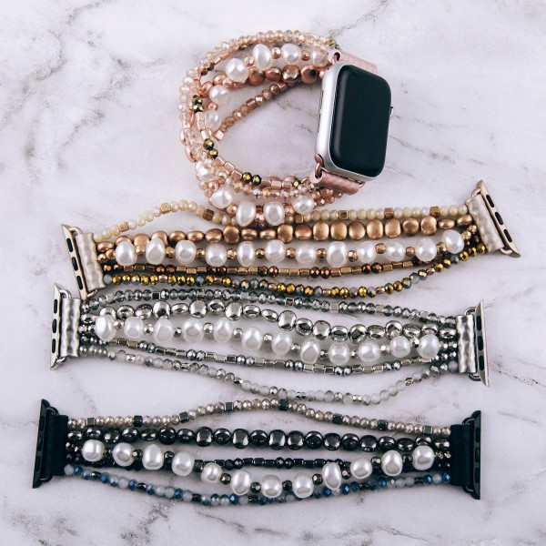 "Interchangeable multi strand semi precious beaded smart watch bracelet with pearl accents. WATCH NOT INCLUDED. Approximately 3"" in diameter. Fits up to a 6"" wrist.  - Fits 38mm watch face"