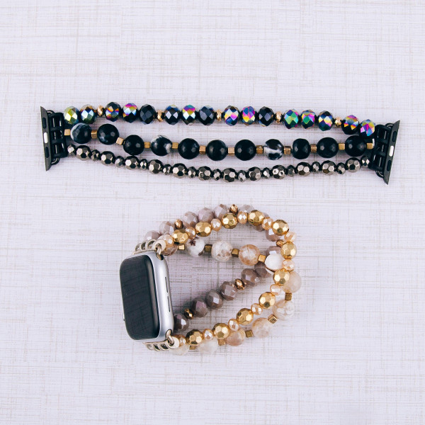 """Interchangeable semi precious beaded stretch smart watch band/bracelet with natural stone details. WATCH NOT INCLUDED. Approximately 4.5"""" in diameter. Fits up to a 7"""" wrist.  - 38mm"""
