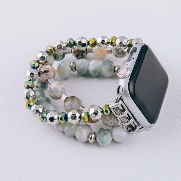 "Interchangeable semi precious beaded stretch smart watch band/bracelet with natural stone details. WATCH NOT INCLUDED. Approximately 4.5"" in diameter. Fits up to a 7"" wrist.  - 38mm"