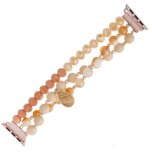 "Interchangeable semi precious beaded stretch smart watch band/bracelet featuring acrylic and faceted bead details with a natural stone teardrop charm. WATCH NOT INCLUDED. Approximately 4.5"" in diameter. Fits up to a 7"" wrist.   - 38mm"