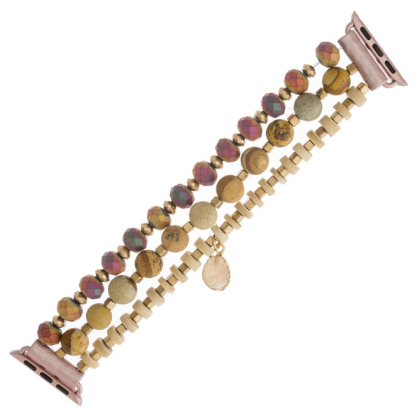 """Interchangeable semi precious beaded stretch smart watch band/bracelet featuring natural stone, wood and faceted bead details with a druzy charm. WATCH NOT INCLUDED. Approximately 4.5"""" in diameter. Fits up to a 7"""" wrist.  - 38mm"""