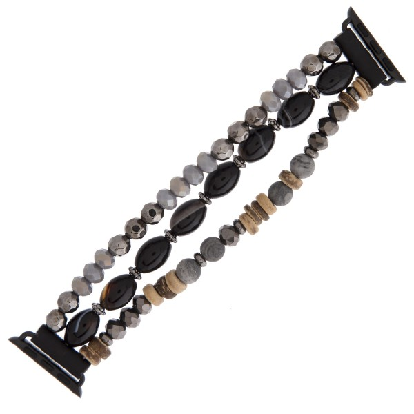"Interchangeable multi strand semi precious beaded smart watch bracelet with wood bead details. WATCH NOT INCLUDED. Approximately 3"" in diameter. Fits up to a 6"" wrist.  - Fits 38mm watch face"