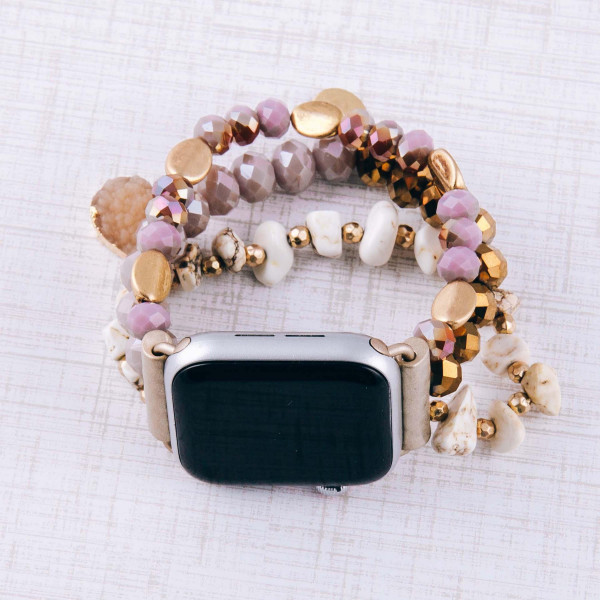 "Interchangeable semi precious beaded smart watch band/bracelet for smart watch only with natural stone details. Approximately 4.5"" in diameter. Fits up to a 7"" wrist.  - 38mm"