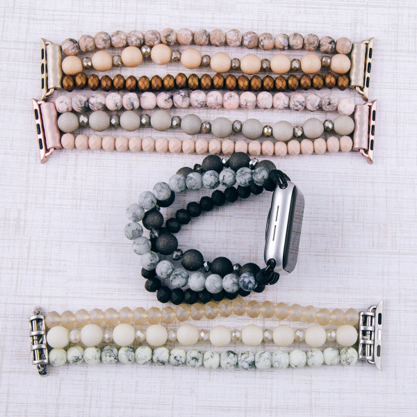 """Interchangeable semi precious beaded stretch smart watch band/bracelet for smart watches only with natural stone details. Approximately 4.5"""" in diameter. Fits up to a 7"""" wrist.   -38mm"""