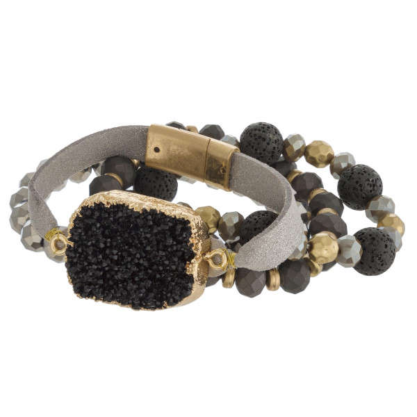 "Semi precious beaded stretch bracelet set featuring a faux leather strand with druzy focal and magnetic closure. Approximately 3"" in diameter. Fits up to a 6"" wrist."