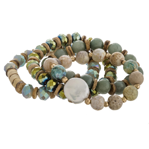 Semi precious wood beaded pearl stretch bracelet set of four. Approximately