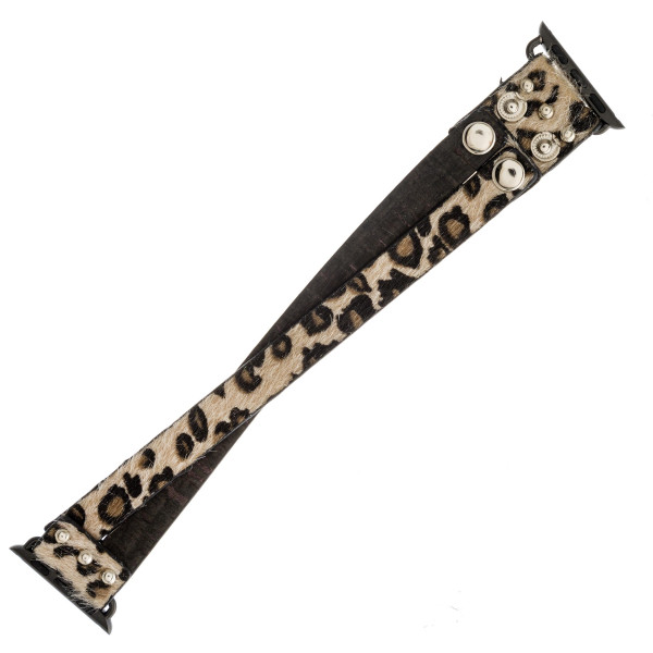 """Interchangeable faux fur leopard print and cork smart watch band for smart watches only. WATCH NOT INCLUDED. Approximately 4.5"""" in diameter. Fits up to a 7"""" wrist.   - 38mm - Adjustable closure"""
