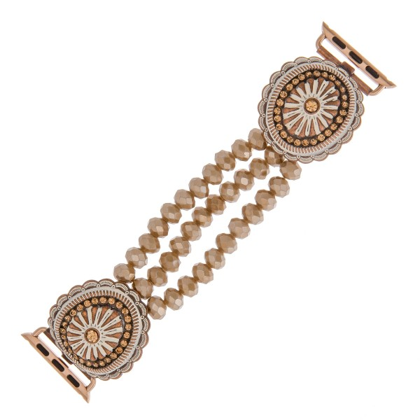 """Interchangeable multi strand beaded stretch smart watch band/bracelet featuring an antique metal rhinestone flower detail.  - Fits watch face size 38mm  - Watch Not Included - Approximately 3"""" in diameter  - Fits up to a 6"""" wrist"""
