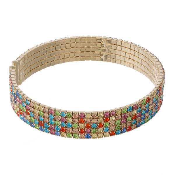 """Multicolor cubic zirconia tennis cuff bracelet. Approximately 3"""" in diameter and 1cm in width. Fits up to a 6"""" wrist."""