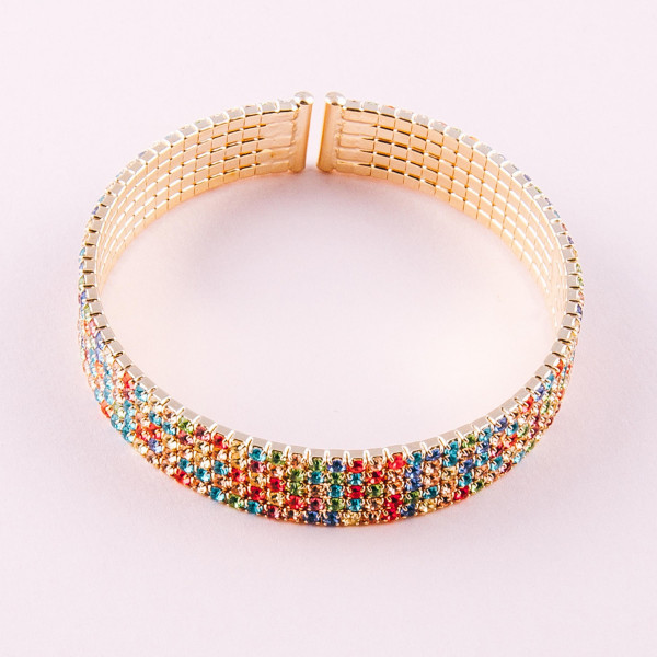 "Multicolor cubic zirconia tennis cuff bracelet. Approximately 3"" in diameter and 1cm in width. Fits up to a 6"" wrist."