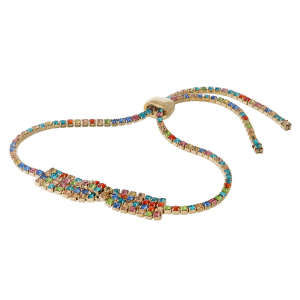 "Multicolor cubic zirconia bracelet featuring a over-lapped design with an adjustable slider closure. Approximately 3"" in diameter. Fits up to a 6"" wrist."