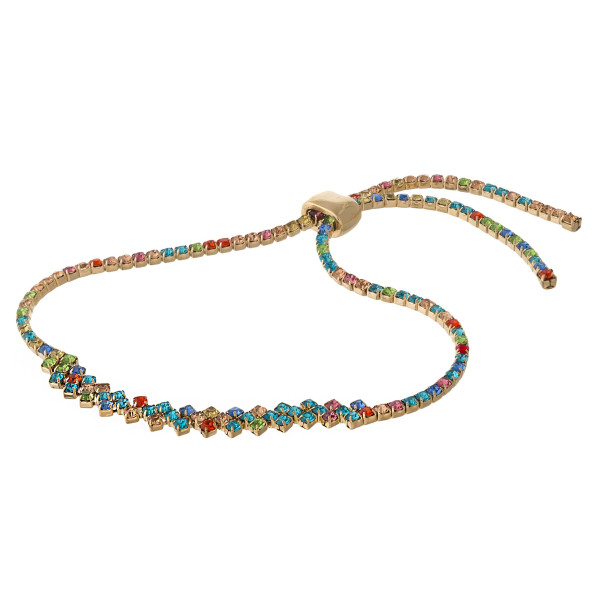 """Multicolor cubic zirconia bracelet featuring a zigzag design with an adjustable slider closure. Approximately 3"""" in diameter. Fits up to a 6"""" wrist."""