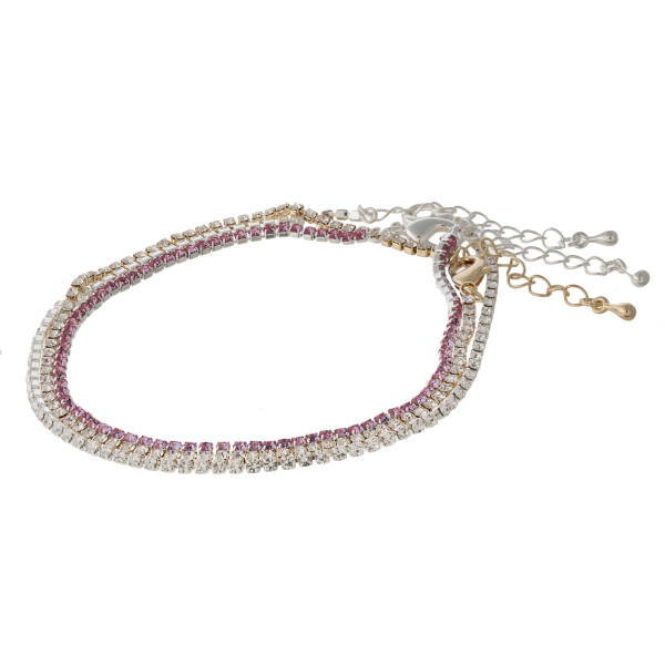 """Anklet set featuring three anklets with cubic zirconia details. Approximately 4"""" in diameter. Fits up to an 8"""" ankle."""