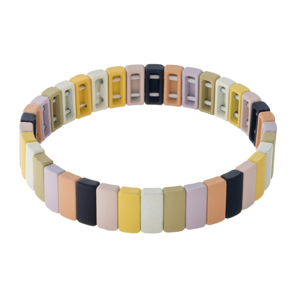 """Color block lego stretch bracelet. Approximately 3"""" in diameter unstretched. Fits up to a 6"""" wrist."""