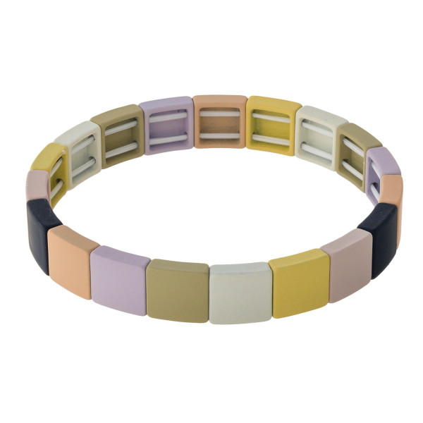 """Color block lego stretch bracelet. Approximately 3"""" in diameter. Fits up to a 6"""" wrist."""